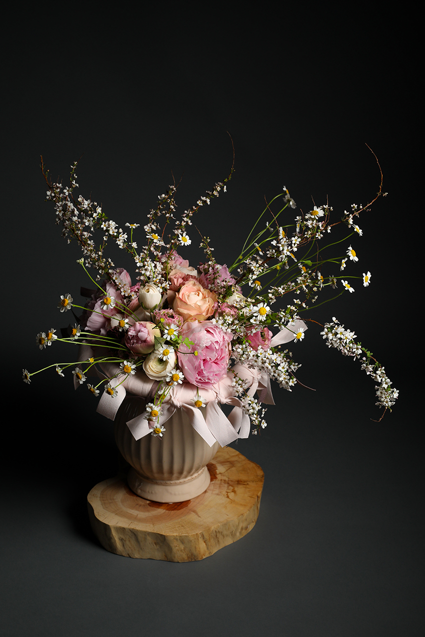 Pink Ribbon Framed Bouquet, Seoul Florist, Petal Palette