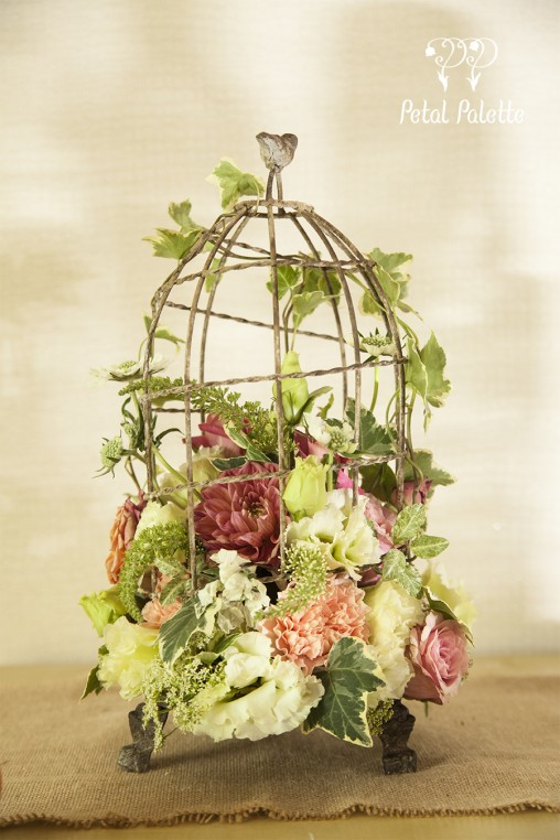 Birdcage flower arrangement design seoul florist