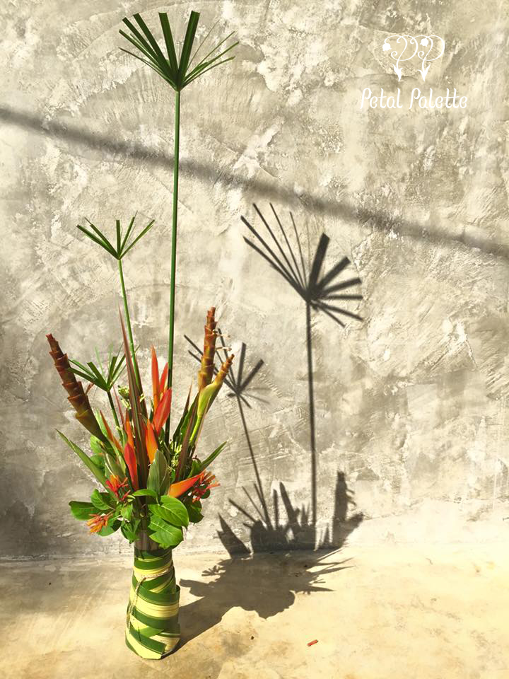 Tropical floral art arrangement resort interior photo shoot seoul florist