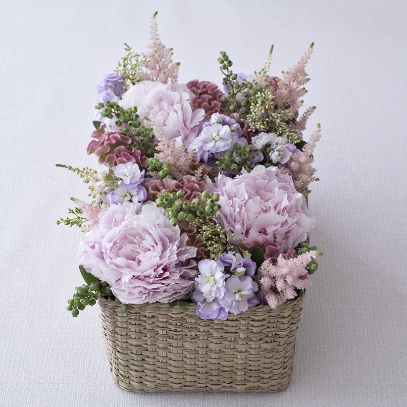 Peony Oriental Basket Arrangement, Seoul Florist, Petal Palette