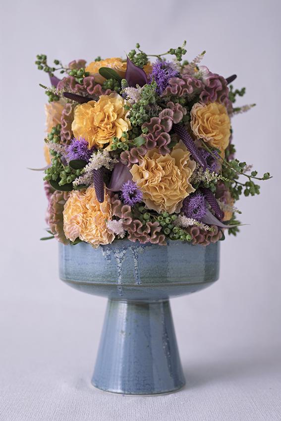 Oriental Compote Vase Arrangement, Seoul Florist, PetalPalette