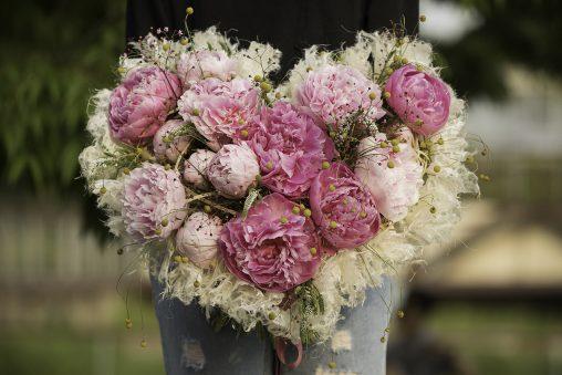 heart shaped proposal bouquet