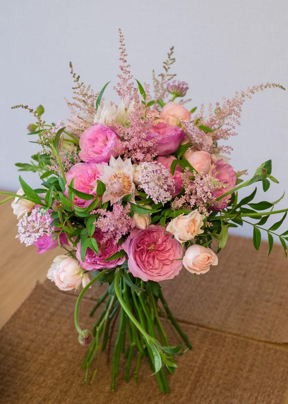 Pink Garden Rose Proposal Bouquet Seoul Florist